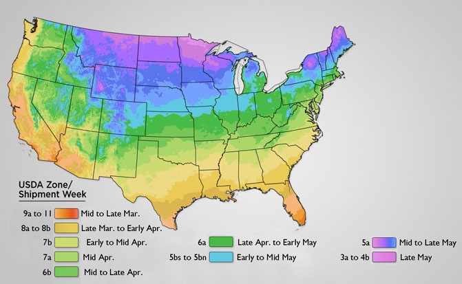 Spring USDA Shipping Map